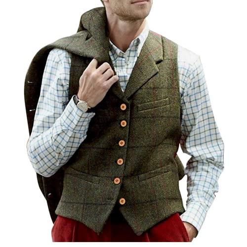 Andiwa Chaleco para hombre Tweed Check de lana en espiga de espiga de espiga de múltiples bolsillos Slim Fit Casual Suit Chaleco para fiesta padrinos de negocios (verde, XL)