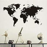 Ajcwhml Nordic Creative Home Decoration World Map Atlas Etiqueta de la Pared calcomanía de impresión Negra decoración del Dormitorio Adhesivo removible Mural 97x55cm