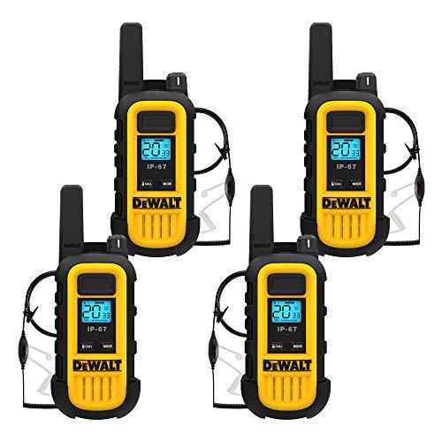 DEWALT DXFRS300 1 Watt Heavy Duty Walkie Talkies with Headsets - Waterproof, Shock Resistant, Long Range & Rechargeable Two-Way Radio with VOX (4 Pack) (2DXFRS300-SV1)