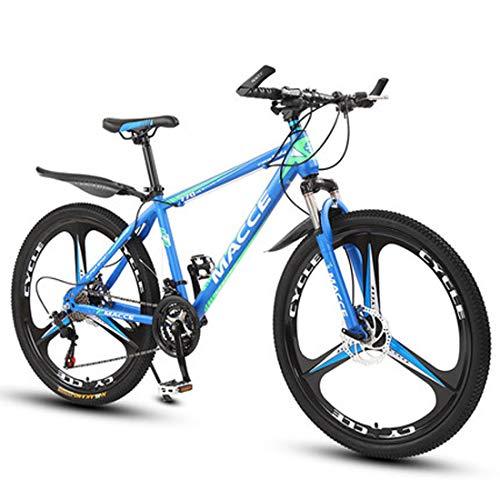 GL SUIT Unisex Fahrrad Mountainbike, Doppelscheibenbremsen, 21-Gang Leichte Carbon-Stahlrahmen Leichte Carbon-Stahlrahmen Hard Tail Dirt Bike,Blau,26 inches