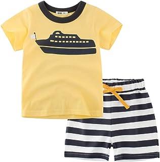 Pantaloncini da Spiaggia Estivi 2 Pezzi 1-6 Anni Abiti Completi per Baby Boy CARETOO novit/à Toddler Baby Boys Polo T-Shirt Stampata Tops