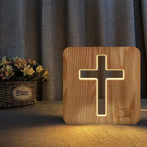 Solo 1 pieza 3D Madera Jesús Cruz USB Luz de noche Novedad Dormitorio para niños Lámpara de mesa decorativa 3D Blanco cálido Regalo para niños