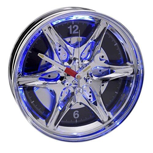 Wanduhr Autofelgen-Design blaues LED-Licht Chrom Quarz