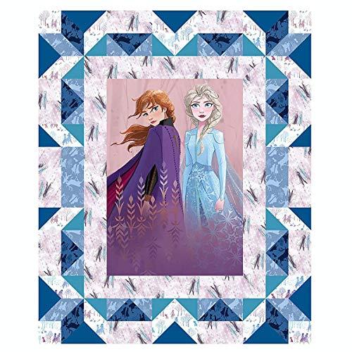 """Disney Frozen 2 Faux Quilt 37"""" Panel Multi, Fabric"""