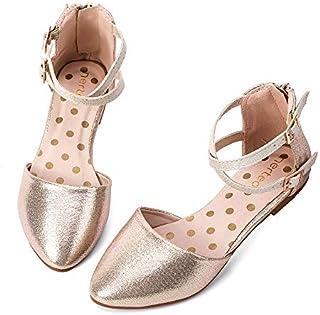 nerteo Girl's Pretty Glitter Ballet Flats Ankle Strap Dress Shoes Sandals (Toddler/Little Kid/Big Kid)