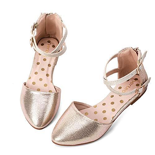 nerteo Girl s Pretty Glitter Ballet Flats Ankle Strap Dress Shoes Sandals (Toddler/Little Kid/Big Kid) Gold 6 M US Toddler