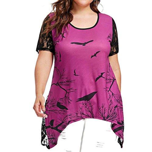 BCDshop Women Fashion Summer Top Short Sleeve Back Lace Hollow Patchwork Blouse T-Shirt Plus (Purple, Asian Size:2XL= US Size 18W)
