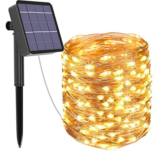 Solar String Lights Outdoor, Kolpop 78.7FT 240LED Solar Fairy Lights Outdoor Waterproof 8 Modes Copper Wire Solar Powered Lights Indoor for Garden Patio Gate Yard Party Wedding Camping(Warm White)