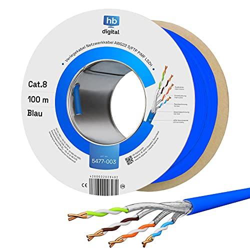 HB-DIGITAL 100m Cat. 8 Netzwerkkabel Verlegekabel Installationskabel B2Ca Datenkabel Innen-∅ 0,6 mm Ethernet LAN Kabel bis zu 40 Gbit/s Kupfer S/FTP max. 2000 MHz PIMF LSZH Halogenfrei AWG 22/1 blau