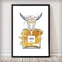 ファッションアート動物の頭蓋骨香水ボトルキャンバス絵画マルファ引用壁の写真リビングルームスカンジナビアのポスターとプリント40x60cmフレームレス