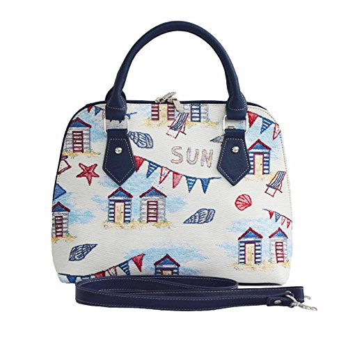 Signare Tapisserie Handtaschen Damen, Umhängetasche damen schultertasche damen und Umhängetaschen damen mit Farbmuster Designs (Strandhäuschen)