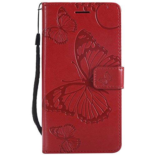 DENDICO Cover Huawei P8 Lite 2017, Pelle Portafoglio Custodia per Huawei P8 Lite 2017 Custodia a Libro con Funzione di appoggio e Porta Carte di cRossoito - Rosso