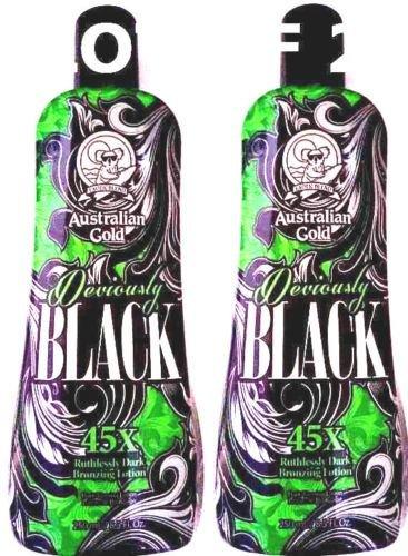 Lot of 2 Deviously Black 45x Dark Bronzer Indoor Tanning Lotion Australian Gold