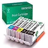 GREENSKY Sostituzione cartucce d'inchiostro compatibili per Canon PGI-580XXL CLI-581XXL per Canon pixma TS6150 TS6151 TS6250 TS6251 TR7550 TS8150 TS8151 TS8250 TS8251 TR8550 TS9150 (confezione da 5)
