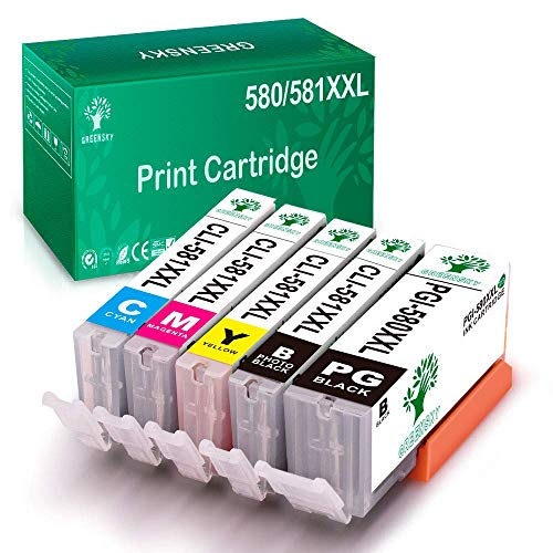 GREENSKY Ersatz kompatibler Tintenpatronen für Canon PGI-580XXL CLI-581XXL für Canon pixma TS6150 TS6151 TS6250 TS6251 TR7550 TS8150 TS8151 TS8152 TS8250 TS8251 TR8550 TS9150 TS9550 (5er Pack)