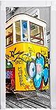Stil.Zeit Möbel Trenino cosparso Nero/Bianco murale, Formato: 200x90cm, Telaio della Porta, Adesivi Porta, Porta Decorazione, autoadesivi del Portello