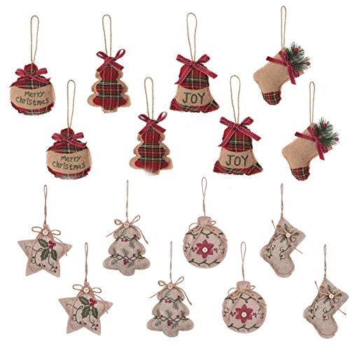 TiTa-Dong 16 Pieces Christmas Burlap Hanging Ornaments,Rustic Christmas Tree Ornaments | Stocking,Ball,Star,Xmas Tree Shaped | Rustic Plaid Burlap Pendants for Christmas Party Decor