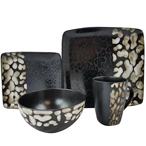 Elama Square Stoneware Pattern Dinnerware Dish Set, 16 Piece, Matte Black with Cheetah Design
