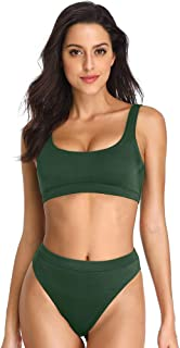 Dixperfect Two Pieces Bikini Sets Swimsuit Sports Style Low Scoop Crop Top High Waisted High Cut Cheeky Bottom