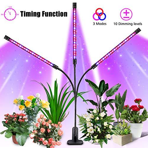 LED Pflanzenlampe, SOLMORE 27W Grow Lampe Pflanzenlicht mit 3 Timer, 3 Modus, 10 Arten von Helligkeit und 360°Einstellbar Flexibles, Wachstumslampe mit USB Adapter für Zimmerpflanzen Überwinterung