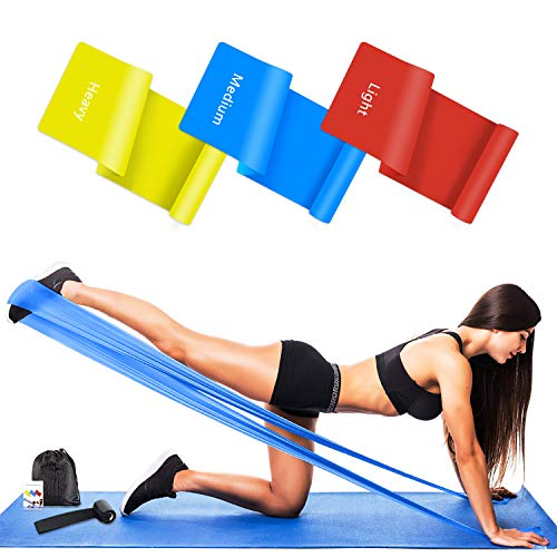 Wrei Bandas Elasticas Fitness, 1.5M/1.8M/2.0M Bandas de Resistencia con 3 Niveles, Cintas Elasticas Fitness para Yoga, Pilates, Crossfit, Estiramientos, Muscular, Piernas, Brazos, Fuerza(3 Pieces)