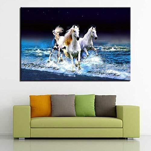 LOIUYT Pintura impresión lienzo pintura sala de estar decoración del hogar 1 carrera de caballos imagen de puesta de sol arte colgante de pared unicornio pegaso animal cartel 60x90cm