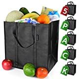 EasyEarth Reusable Grocery Bags EcoFlex [5 Pack] - Large Shopping Bag - Heavy Duty, Durable, Foldable, Washable, and Reusable Bags - Eco Friendly Tote