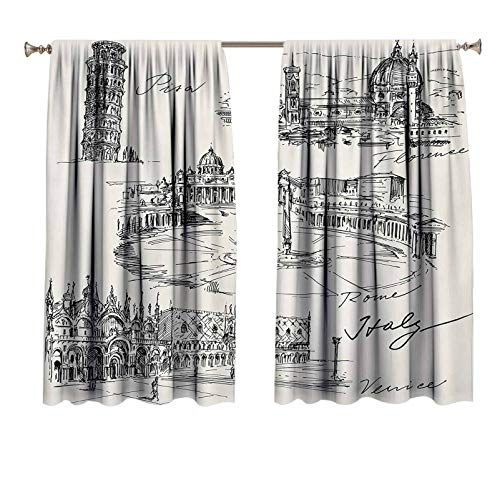 Sketchy Bedroom Drapes Travel The World Themed Historical Italian Landmarks Venice Rome Florence Pisa Decorative Curtains for Living Room Black White 42x54 inch