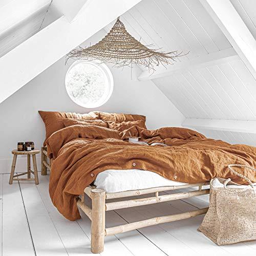 MagicLinen Linen Duvet Cover - Duvet Cover for Queen Size Bed - Linen Bedding - Cinnamon Color - Queen Size