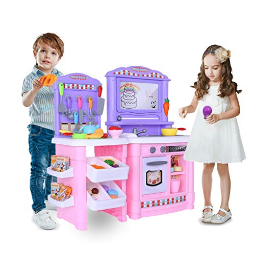 Kingspinner US Kitchen Playset,Kids Kitchen Toys, Pretend Play Simulation Kitchen Utensils, Vegetable Cooker, Sink Cooking Toys Best Gift for Boys Girls