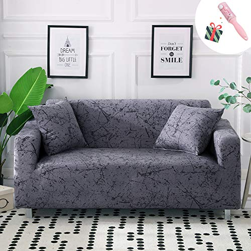 Sofa Überwürfe Sofabezug 3 Sitzer, Morbuy Elastisch Ecksofa Marmor L Form Stretch Antirutsch Armlehnen Sofahusse Sofa Abdeckung Hussen für Sofa Couchbezug Sesselbezug (1 Sitzer,Grau)