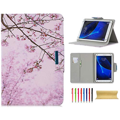 Universal 7.5-8.5 Inch Tablet Case, Techcircle Ultra Slim Lightweight PU Leather Stand Folio Flip Wallet Protective Shell Case [Card Slots] [Magnetic Closure] for All 7.5'-8.5' Tablet, Cherry Blossom