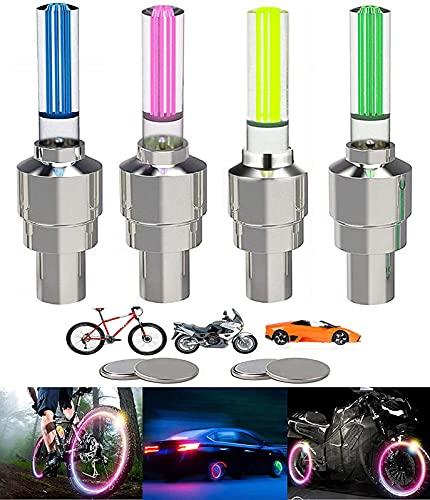 Yinch 4 Stück LED Ventilkappen Fahrrad Reifen Beleuchtung Speichenlicht Fahrrad Ventilschaftkappe Licht Autozubehör für Fahrrad, Auto, Motorrad oder LKW mit 10 Zusätzlichen Batterien(Mehrfarbig)