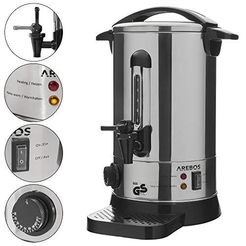 AREBOS Glühweinkocher | Heißgetränkespender | 9 L | mit Auffangschale, Auslasshahn, Thermostat und Überhitzungsschutz | Temperatureinstellung von 30-110°C