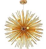 ZKKAW Goldene Sputnik Leuchter-Deckenleuchte Lampe 20 Zoll Sputnik Kronleuchter Mid-Century 9-Light Golden Pendelleuchte für Wohn-Esszimmer Schlafzimmer