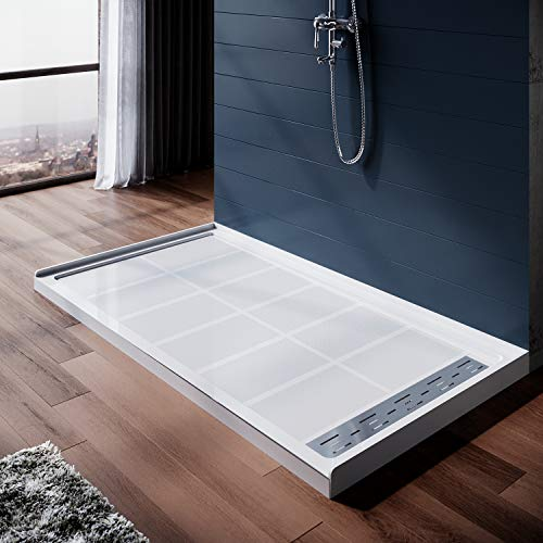 ELEGANT 60'' L x 32'' H x 4'' H Shower Base with 304 Right Trench Stainless Steel Drain Solid Surface Shower Pan White including Drain Cover
