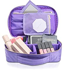 """💋 SMALL MAKEUP BAG – """"BEST DESIGN"""" AWARD – FITS 3X MORE MAKE UP THAN traditional make up bags without taking up more room in your luggage or purse – 3 EXTRA LONG brush holders, brush cover, mesh zipper pocket, zipper palettes pocket, snap off REMOVAB..."""