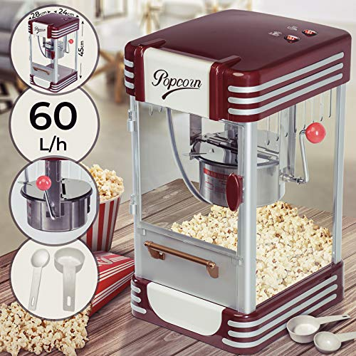 Máquina para Palomitas - con Olla Extraíble de Acero de Capacidad 50g y Cuchara Dosificadora, 330-360W, 200g/10min, 60L/h - Pop Corn Retro, Palomitero Vintage