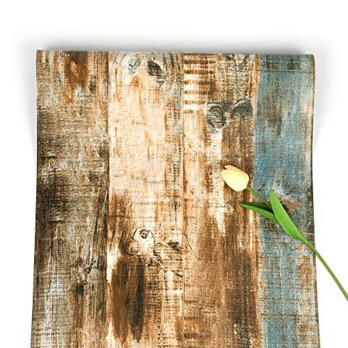 Holz-Tapete Brown Selbstklebende Tapete Streifen Wallpaper Streak Peel und Stick Wallpaper Korn-Kontaktpapier Rustikale Abnehmbare Tapete für Küchentür Kabinett Bartheke Schlafzimmer 45 * 500cm
