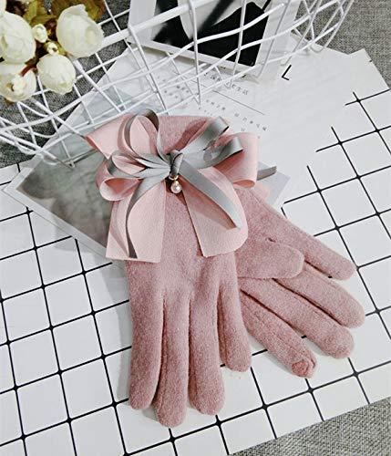 Touchscreen-Handschuhe Fünf Finger Plus Samt Gestrickt Warm Einfarbig Süßes Paar Tägliche Handschuhe Fleckenfreie Größe Rosa