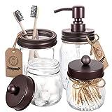 Juego de accesorios de baño Mason Jar de 4 piezas, dispensador de jabón y 2 tarros de boticario y soporte para cepillo de dientes, decoración rústica de granja, cuarto de baño, decoración del...