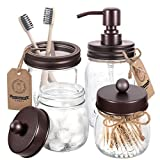 Mason Jar Bathroom Accessories Set 4 Pcs - Mason Jar Soap Dispenser & 2 Apothecary Jars & Toothbrush Holder - Rustic Farmhouse Decor, Bathroom Home Decor Clearance, Countertop Vanity Organize - Bronze