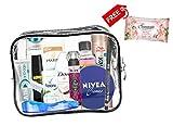 Set de viaje de 13 productos de marca de cuidado personal de marca, esenciales de viaje, Cabina aprobada.(mujer (B)
