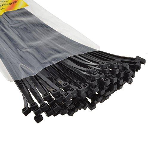 Schwarz Kabel Kabelbinder 300 mm x 3,5 mm Nylon 66 UL Zertifiziert [100 Stück] [300mm x 3,5mm]