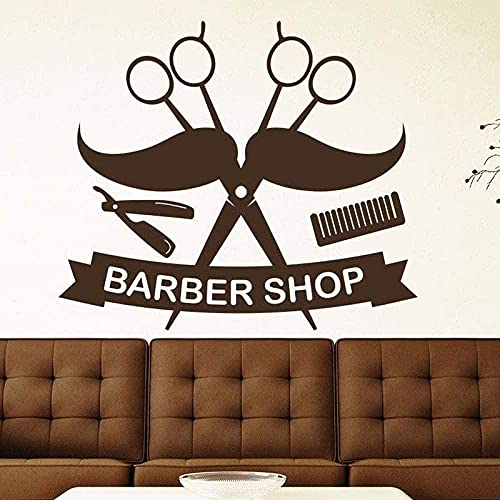 Barbería Salón Pared Calcomanía Tijeras Artículos Para El Hogar Vinilo Corte De Pelo Etiqueta De La Pared Arte Decoración De La Pared 56X64Cm