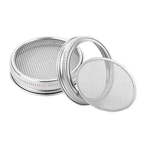 Bestonzon 2 pcs en acier inoxydable de couvercles pour bocaux Ouverture large pour faire de la Bio Sprout Graines dans la maison et de cuisine 8,4 cm