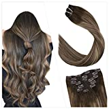 Ugeat 20'/50cm Real Human Hair Clip in Extensions Easy Fit Double Weft 100GR/7PC Tete Complete Clips Tissage Marron Fonce a Blonde au Caramel et Marrone