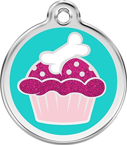 Red Dingo Hundemarke Edelstahl Glitter 'Cupcake' inkl. Gravur, groß