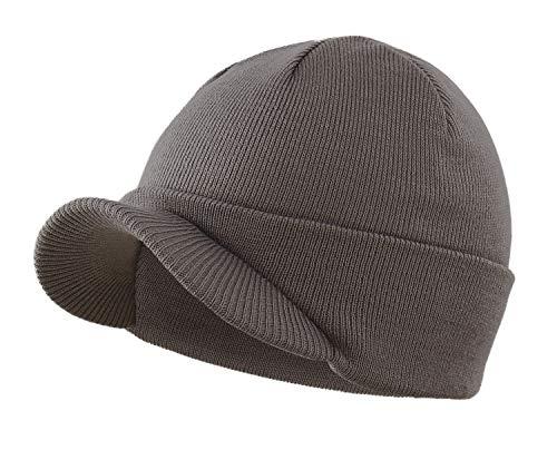 Home Prefer Men's Winter Beanie Hat with Brim Warm Double Knit Cuff Beanie Cap (Dark Gray)
