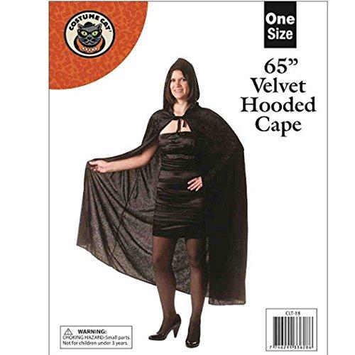 Cape à capuche unisexe en velours pour Halloween/Carnaval Violet 165 cm